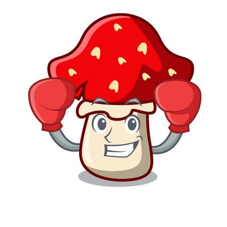 Boxing amanita mushroom character cartoon Illustration