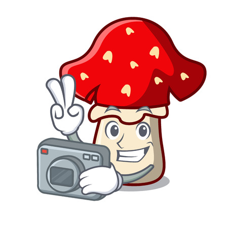 Photographer amanita mushroom mascot cartoon