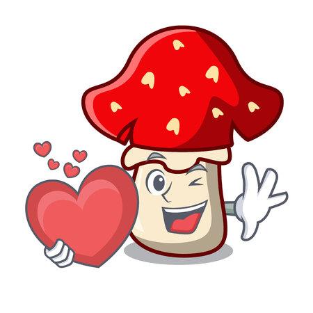 With heart amanita mushroom mascot cartoon 일러스트