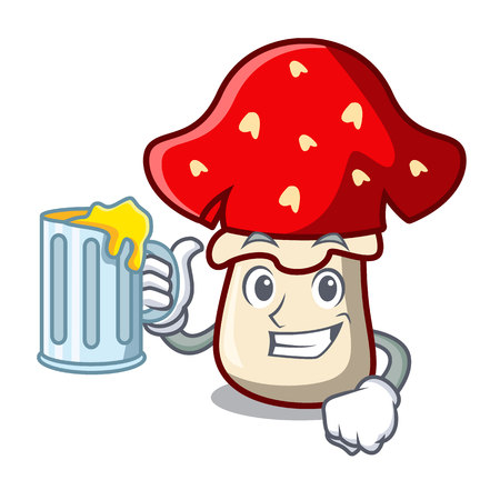 With juice amanita mushroom mascot cartoon