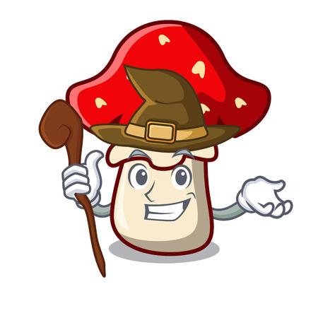 Witch amanita mushroom mascot cartoon Illustration