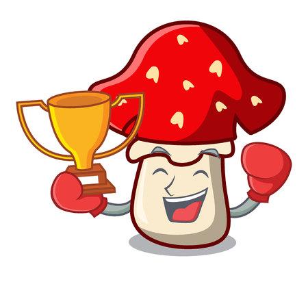 Boxing winner amanita mushroom mascot cartoon 일러스트