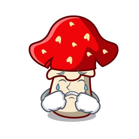Crying amanita mushroom mascot cartoon