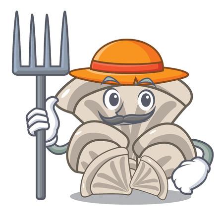 Farmer oyster mushroom character cartoon Vettoriali