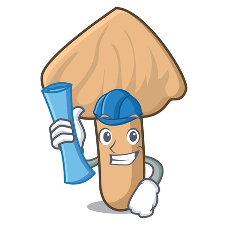 Architect inocybe mushroom character cartoon Illustration
