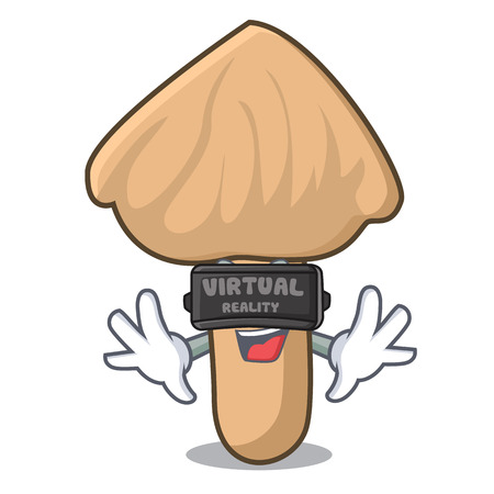 Virtual reality inocybe mushroom mascot cartoon