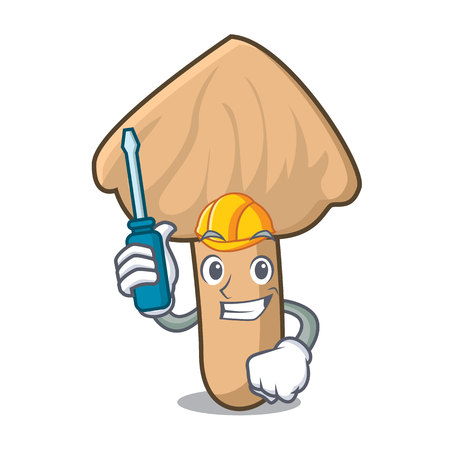 Automotive inocybe mushroom mascot cartoon Illustration