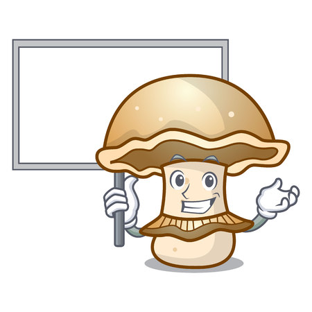 Bring board portobello mushroom character cartoon vector illustration