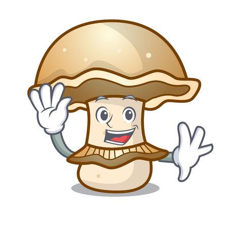 Waving portobello mushroom character cartoon vector illustration