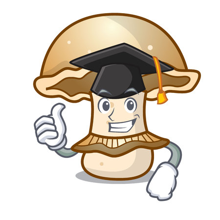 Graduation portobello mushroom character cartoon vector illustration