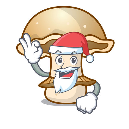 Santa portobello mushroom mascot cartoon vector illustration