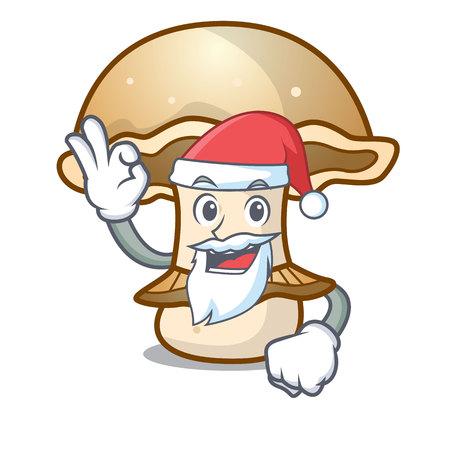 Santa portobello mushroom mascot cartoon vector illustration