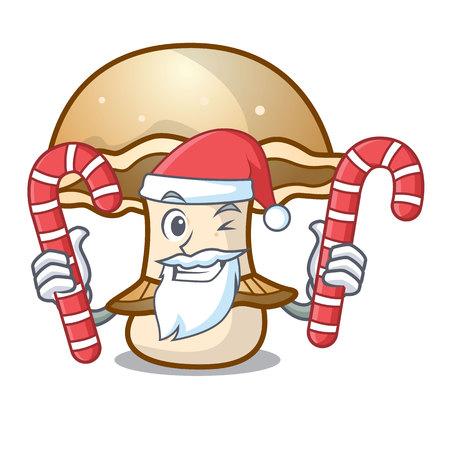 Santa with candy portobello mushroom mascot cartoon vector illustration