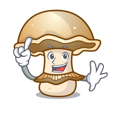 Finger portobello mushroom mascot cartoon vector illustration