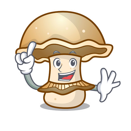 Finger portobello mushroom mascot cartoon vector illustration