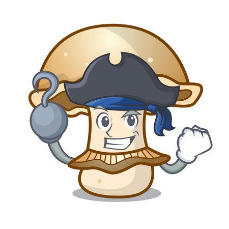 Pirate portobello mushroom character cartoon vector illustration Vetores