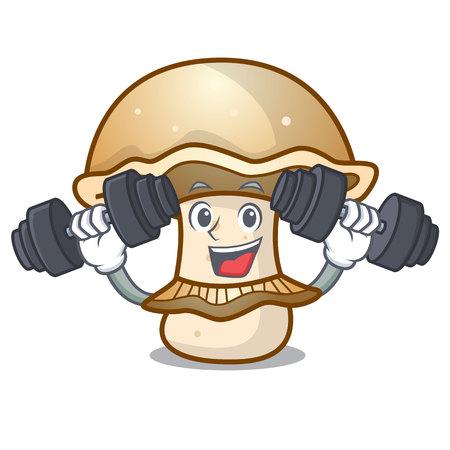 Fitness portobello mushroom character cartoon vector illustration Vetores