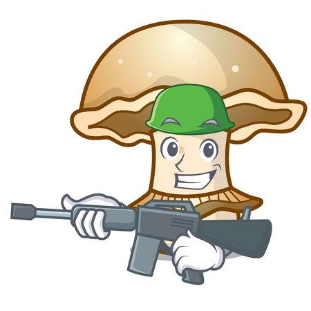Army portobello mushroom character cartoon vector illustration