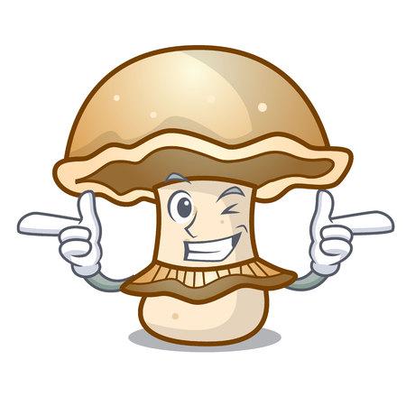 Wink portobello mushroom character cartoon vector illustration Vetores