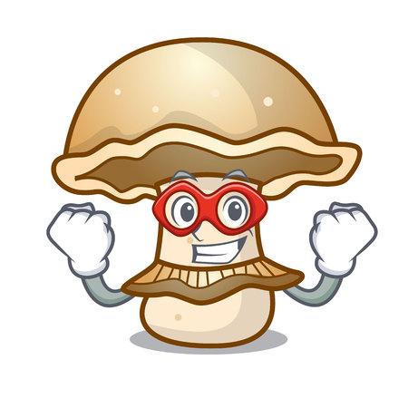 Super hero portobello mushroom character cartoon vector illustration Vectores