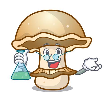 Professor portobello mushroom character cartoon vector illustration