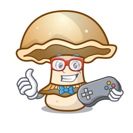 Gamer portobello mushroom mascot cartoon vector illustration Vectores
