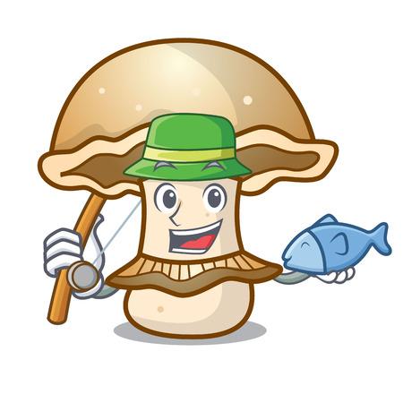 Fishing portobello mushroom mascot cartoon vector illustration
