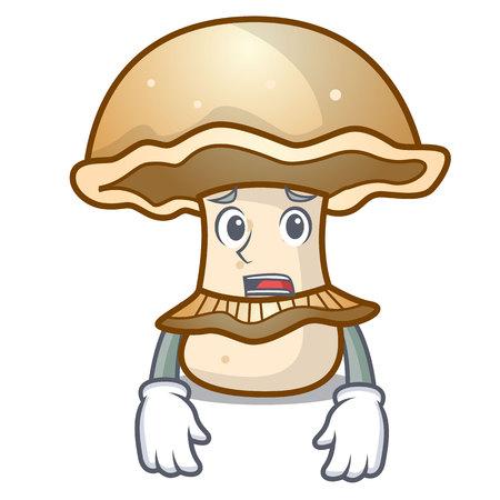Afraid portobello mushroom mascot cartoon vector illustration