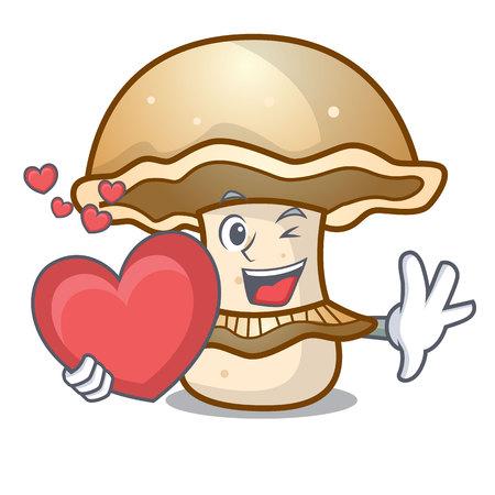 With heart portobello mushroom mascot cartoon vector illustration Vectores