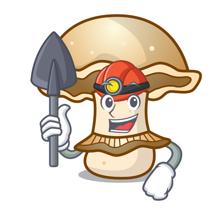 Miner portobello mushroom mascot cartoon vector illustration