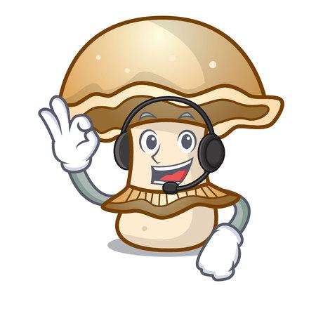 With headphone portobello mushroom mascot cartoon vector illustration Vectores