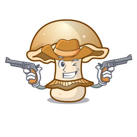 Cowboy portobello mushroom character cartoon vector illustration Vectores
