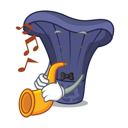 With trumpet actarius indigo mushroom mascot cartoon