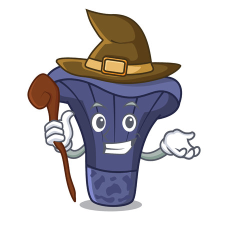 Witch actarius indigo mushroom mascot cartoon Illustration