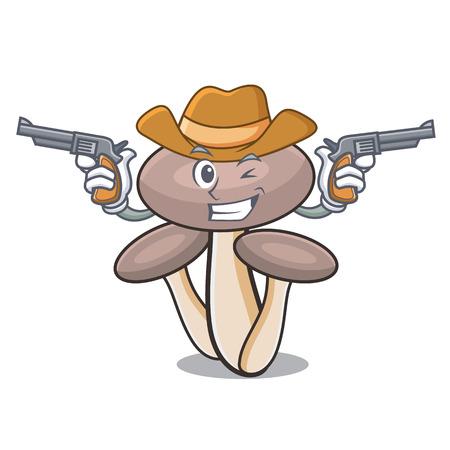 Cowboy honey agaric mushroom character cartoon