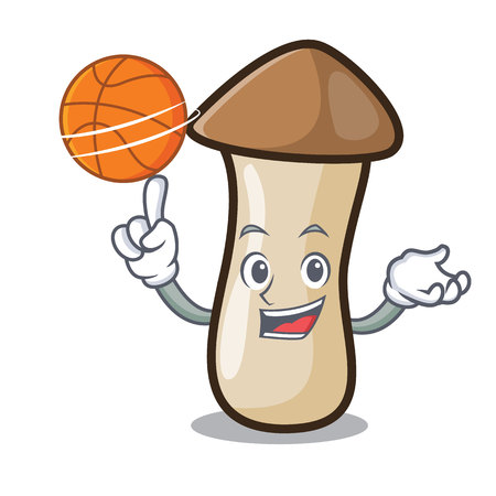 With basketball pleurotus erynggi mushroom character cartoon