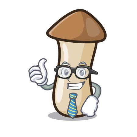 Businessman pleurotus erynggi mushroom character cartoon 向量圖像