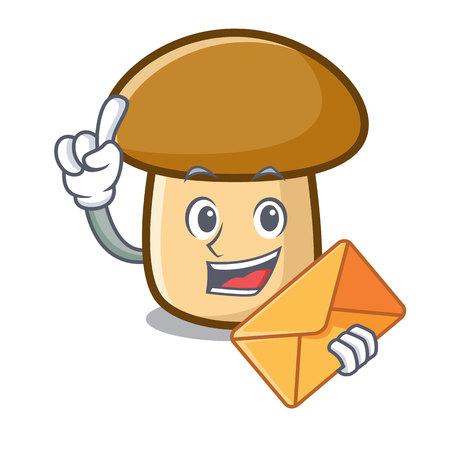With envelope porcini mushroom character cartoon