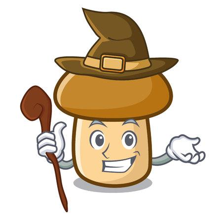 Witch porcini mushroom mascot cartoon