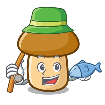 Fishing porcini mushroom mascot cartoon 向量圖像