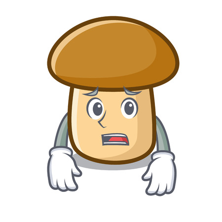 Afraid porcini mushroom mascot cartoon