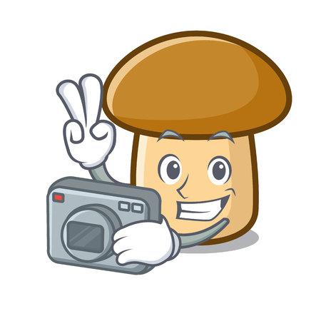 Photographer porcini mushroom mascot cartoon