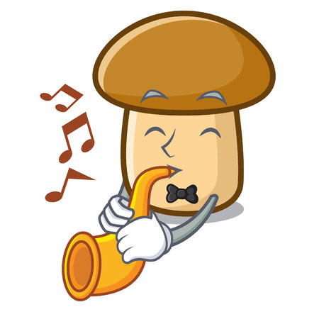 With trumpet porcini mushroom mascot cartoon