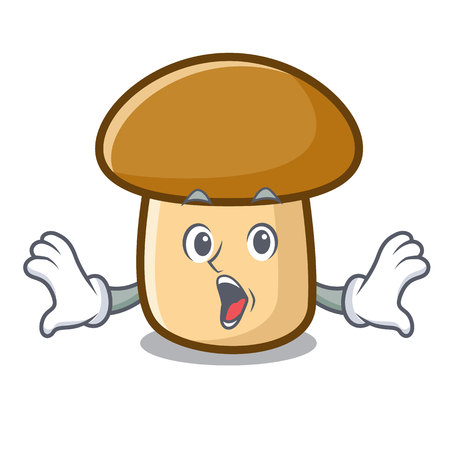 Surprised porcini mushroom mascot cartoon