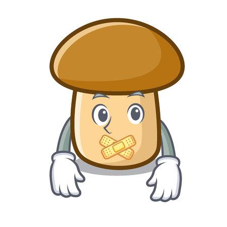 Silent porcini mushroom mascot cartoon vector illustration