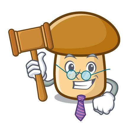 Judge porcini mushroom mascot cartoon