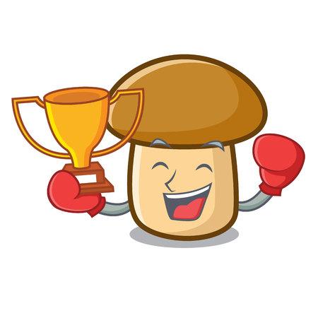 Boxing winner porcini mushroom mascot cartoon Illustration