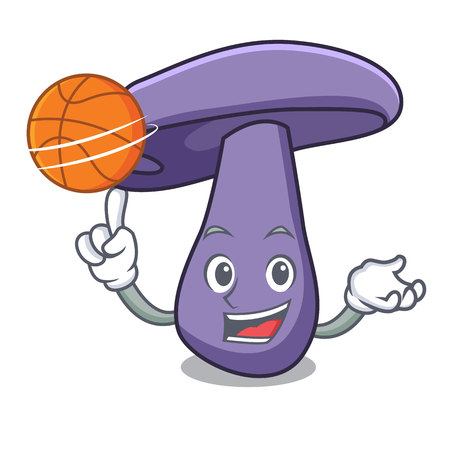 With basketball blewit mushroom character cartoon Illustration