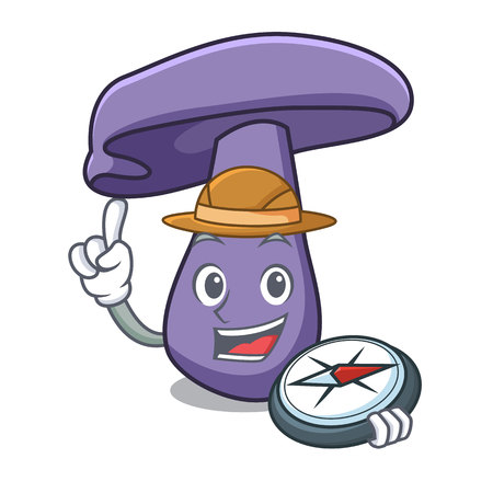 Explorer blewit mushroom mascot cartoon