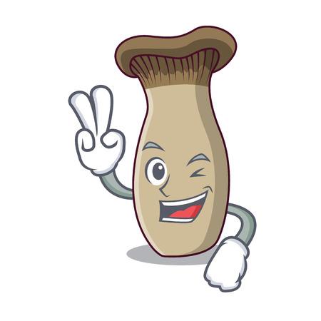 Two finger king trumpet mushroom character cartoon vector illustration Illustration